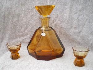 Original Bleikristallkaraffe handgeschliffen mit 2 Gläsern